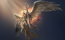 League of Angels, beautiful angel, wings, sword