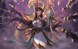 League of Legends, hermosa chica, mano, espada