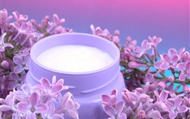 Preview wallpaper Lilac flowers, milk