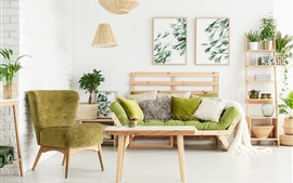 Preview wallpaper Living room, sofa, pillow, simple style