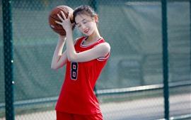Encantadora joven, baloncesto, deporte