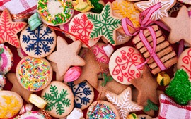 Preview wallpaper Many kinds of cookies, colors, Merry Christmas