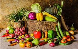 Preview wallpaper Many kinds vegetables, pepper, tomato, cucumber, pumpkin, onion, cabbage