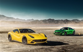 Preview wallpaper Mercedes-Benz GTR green supercar and Ferrari F12 yellow supercar