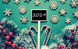 Preview wallpaper Merry Christmas, New Year 2019, snowflakes, candy, red berries