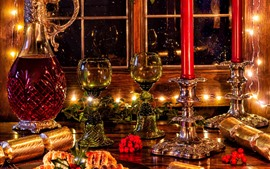 Merry Christmas, decorations, glass cups, wine, candles, lights