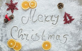 Preview wallpaper Merry Christmas, powdered sugar, orange slice