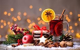메리 크리스마스, 홍차, 계피, 오렌지 슬라이스, 빨간 사과, 견과류, 열매
