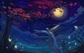Луна, ночь, птичий полёт, крылья, деревья, облака