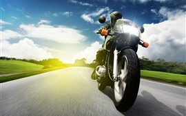 Motorcycle, front view, speed, road, clouds, trees