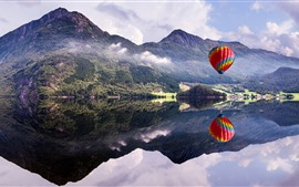 Mountain, lake, hot air balloon, water reflection