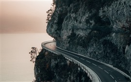 Mountain, road, cliff, river