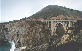 Mountains, bridge, arch, cars, river