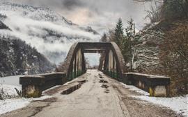 Montanhas, ponte, estrada, nevoeiro, nuvens, neve