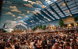 預覽桌布 慕尼黑,慕尼黑啤酒節,人們,德國