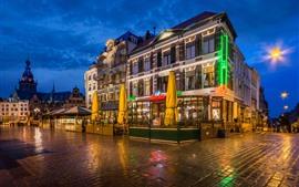 Holanda, Nijmegen, café, cidade, noite, luzes