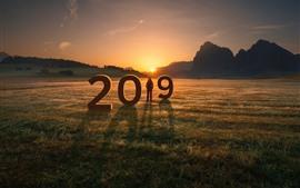 Preview wallpaper New Year 2019, grass, girl, mountains, sunset