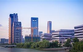 Ningbo, China, cidade, arranha-céus, edifícios, Rio, ponte