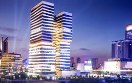 Ningbo, China, arranha-céus, iluminação, cidade