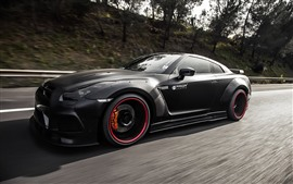 Preview wallpaper Nissan GT-R R35 black supercar speed