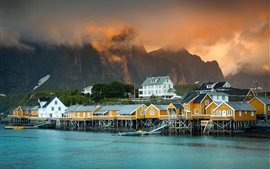 Preview wallpaper Norway, fjord, lake, houses, mountains, clouds, morning