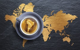 One cup coffee, global map