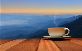 Preview wallpaper One cup coffee, steam, mountains