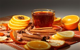 Preview wallpaper One cup tea, orange slice, cinnamon