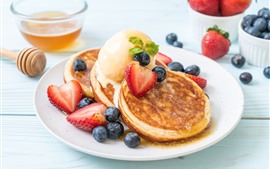 Preview wallpaper Pancakes, strawberry, blueberry, honey, breakfast