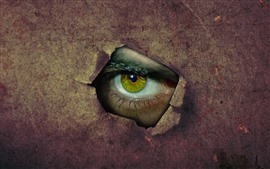 Paper, hole, green eye, creative picture