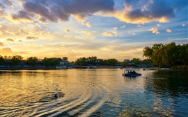 Parque, lago, barcos, nubes, mañana, China