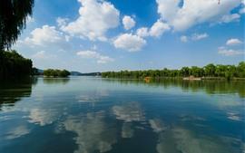 Park, lago, águas claras, salgueiro, barcos, nuvens, céu, China