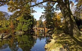 Preview wallpaper Park, trees, bridge, pond, sunshine