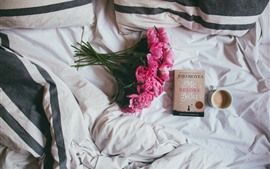 Preview wallpaper Peony, pink flowers, book, coffee, still life