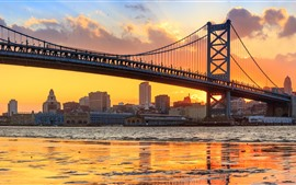 Preview wallpaper Philadelphia, Benjamin Franklin Bridge, river, sunset, USA