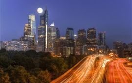 Philadelphia, city, night, skyscrapers, moon, light lines, USA
