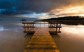 Pier, wood bridge, river, trees, dusk, sunset