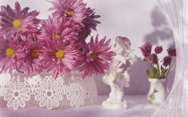 Preview wallpaper Pink chrysanthemum, white figurine