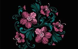 ピンクの花、黒の背景、アート写真