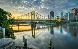 Pittsburgh, USA, city, bridge, river, buildings