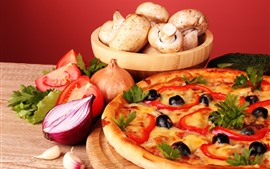 Preview wallpaper Pizza, pie, mushroom, tomato, onion
