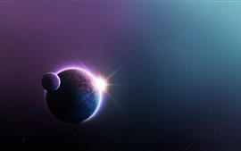 Preview wallpaper Planets, space, glare, light