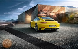 Preview wallpaper Porsche 911 Carrera 4S yellow supercar rear view
