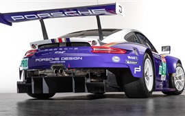 Preview wallpaper Porsche 911 RSR blue racing car rear view