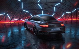 Preview wallpaper Porsche 911 Turbo S black car rear view