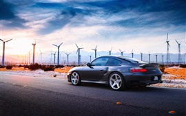 Preview wallpaper Porsche Turbo car, windmills, road