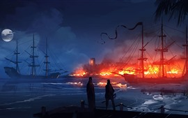 Preview wallpaper Port, ships, fire, night, fantasy art picture