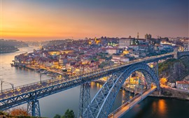 Portugal, Porto, Rio, ponte, cidade, manhã
