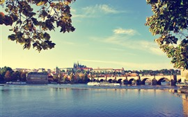 Preview wallpaper Prague, bridge, river, city