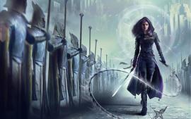 壁紙のプレビュー 紫髪のファンタジー少女、刀、鞭